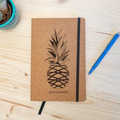 Studentergaver - Personaliseret kork notesbog Ananas
