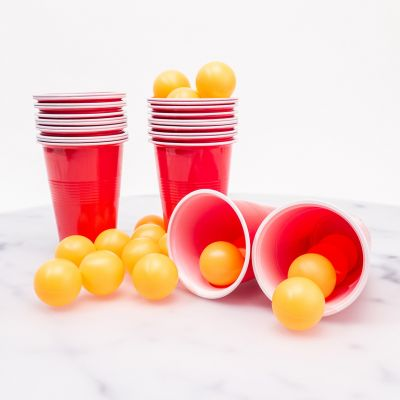 Drikke og Partyspil - Øl Pong med 24 Kopper og Bolde