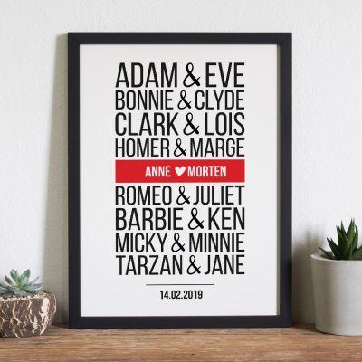 Bryllupsdagsgave - Berømte Par - Personaliseret Plakat