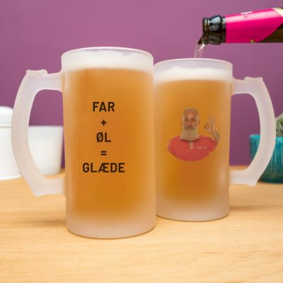 Gave til far - Personaliseret ølkrus med foto og tekst