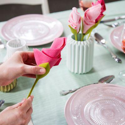 Gavefinder - Blomster serviet holder sæt af 4