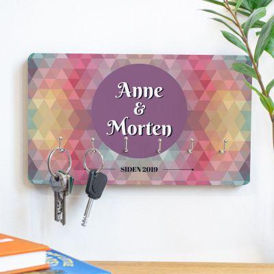 Deko - Personaliseret nøgleophæng med multicolour baggrund
