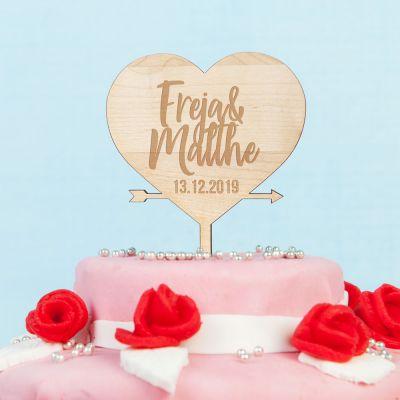 Bryllupsgave - Personaliseret Cake Topper med hjerte