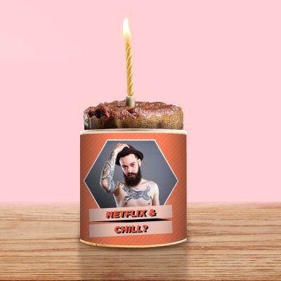 18 års fødselsdagsgave - Dåsekage med billede og tekst