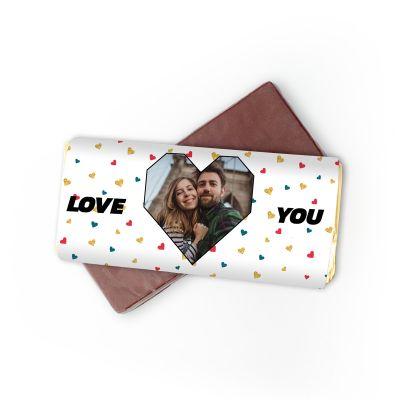 Sødt - Personaliseret Chokolade med Hjertebillede og tekst