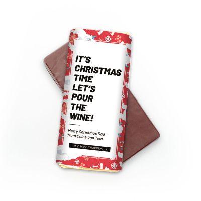 Billige gaver - Personaliseret rødvinschokolade