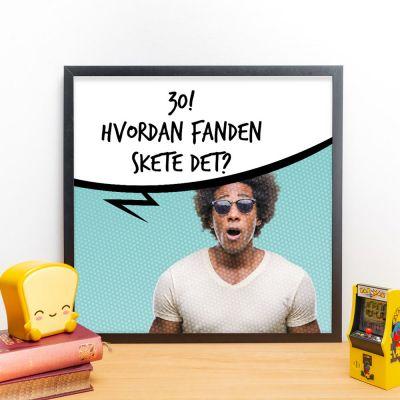 50 års fødselsdagsgave - Personaliseret plakat med foto og taleboble