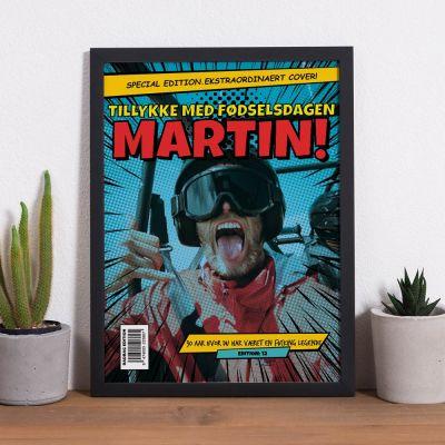 Personaliseret plakat med tekst og billede i tegneseriestil