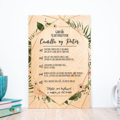 Bryllupsgave - Personaliseret træbillede med gode råd