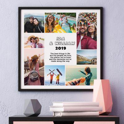 Bryllupsdagsgave - Plakat med 8 billeder og tekst
