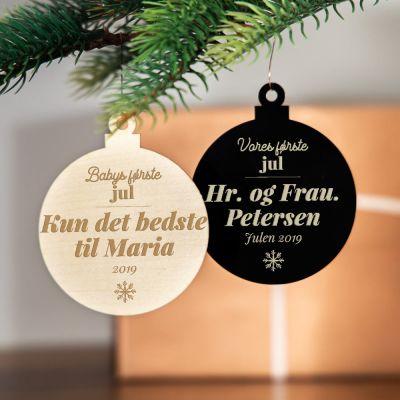 Juletræspynt med tekst