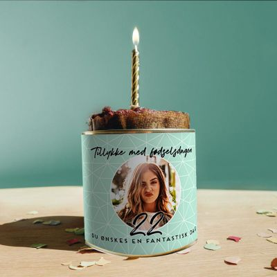 18 års fødselsdagsgave - Fødselsdagskage på dåse