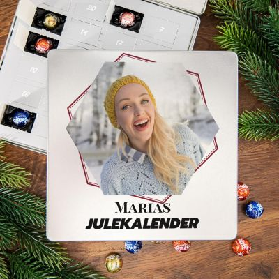 Nyt - Chokoladejulekalender i metalboks med tekst og billede