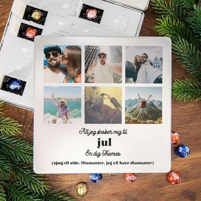 Julekalender - Chokoladejulekalender i metalboks med tekst og 6 billeder
