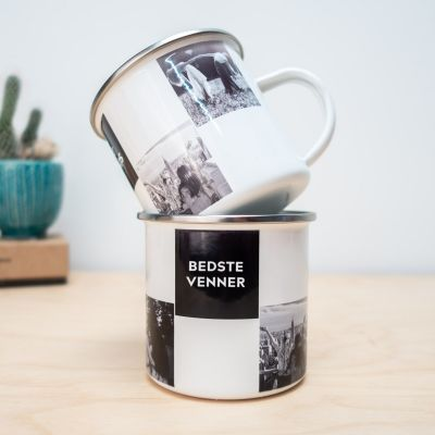 Ekslusive kopper og glas - Personaliseret metalkrus med foto og tekst
