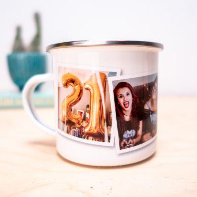 18 års fødselsdagsgave - Personaliseret metalkrus med foto