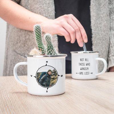 Valentinsgaver til ham - Personaliseret metalkrus Kompas med foto