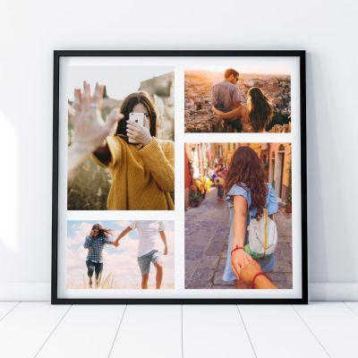Bryllupsdagsgave - Personaliseret fotoplakat med 4 billeder