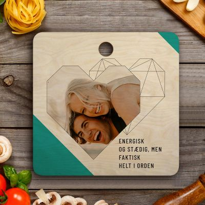 Køkken & grill - Personaliseret Skærebræt med foto, tekst og hjerte