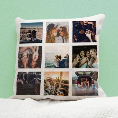 Bryllupsdagsgave - Personaliseret pudebetræk med 9 billeder