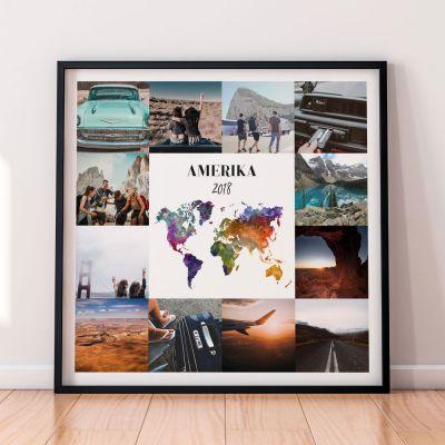 Indflyttergaver - Personaliseret rejseplakat med 12 billeder