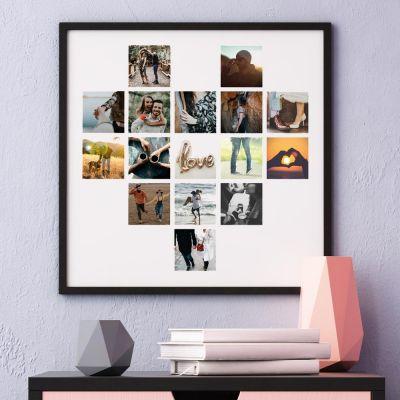 Bryllupsdagsgave - Personaliseret og hjerteformet plakat med fotos