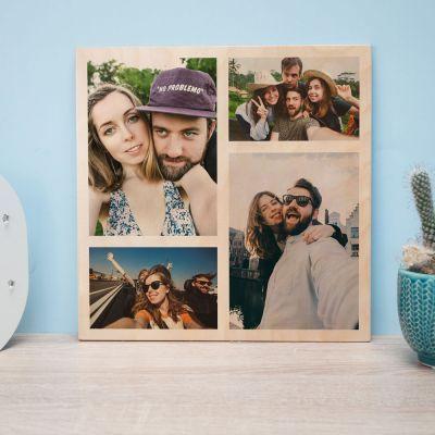 18 års fødselsdagsgave - Personaliseret fototræbillede med 4 billeder
