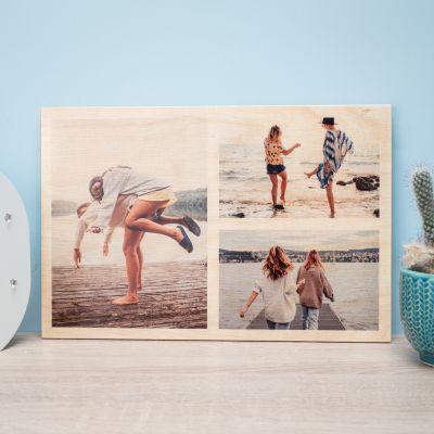 Valentinsgaver til ham - Personaliseret fototræbillede med 3 billeder