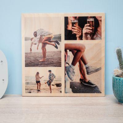 Indflyttergaver - Personaliseret fototræbillede med 4 billeder