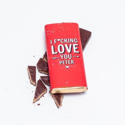 Eksklusivt chokolade - Personaliseret Chokolade I F[...]ing Love You