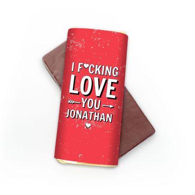 Gaver til bror - Personaliseret Chokolade I F[...]ing Love You