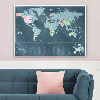 Deko - Skrabe verdenskort med perlemorsfarver