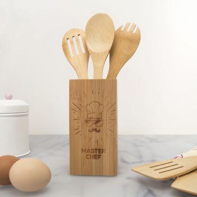 Køkken & grill - Træskeer med personaliseret skeholder Master Chef