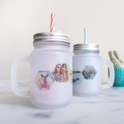 Ekslusive kopper og glas - Personaliseret Mason Jar med håndtag og 4 billeder