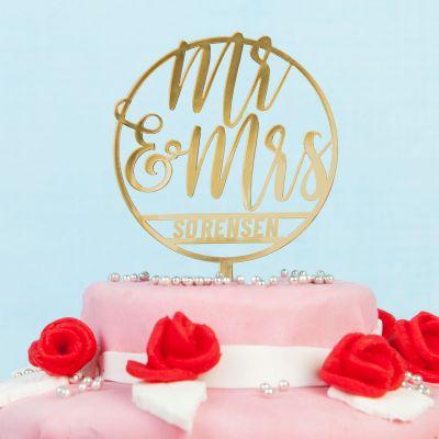 Bryllupsgave - Personaliseret Cake Topper til brylluppet