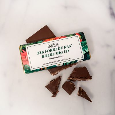 Sødt - Personaliseret chokolade med blomstermønster og tekst