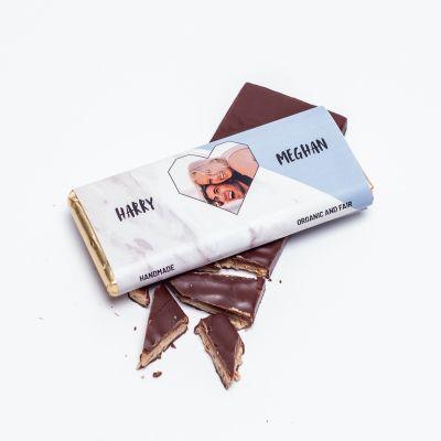 Valentinsgaver til ham - Personaliseret Chokolade med Hjertebillede og tekst