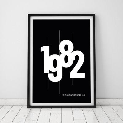50 års fødselsdagsgave - Personaliseret Plakat med fødselsår