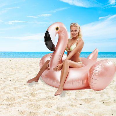 Udendørs - Oppustelige kæmpe flamingo i rosenguld