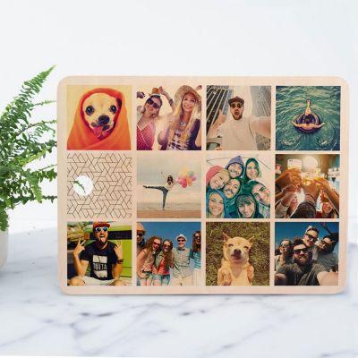 Bryllupsdagsgave - Personaliseret skærebræt med 11 billeder