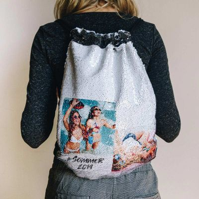 Personaliseret gymnastikpose i pailletter med 2 billeder og tekst