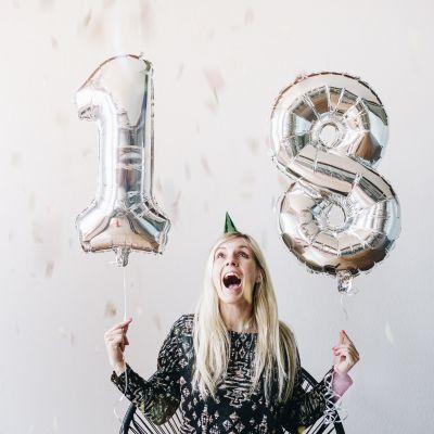 18 års fødselsdagsgave - Kæmpe talballoner