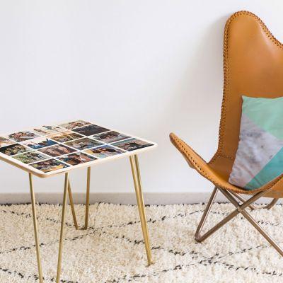 Deko - Personaliseret træbord med 16 billeder