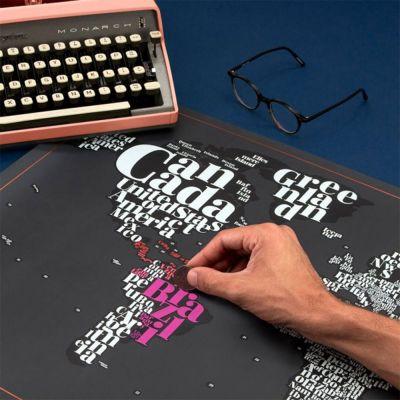 Plakat - Typografisk skrabe verdenskort