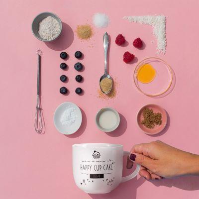Kopper og glas - Kaffekrus med vegansk kage-i-krus opskrift