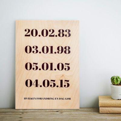 Gave til forældre - Personaliseret Træbillede - Vigtige Datoer