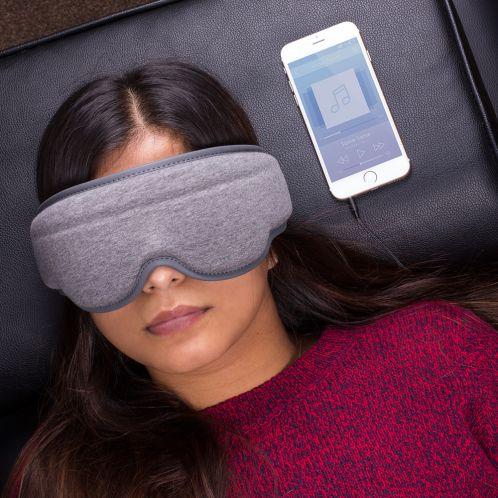 Søvnmaske med integrerede hovedtelefoner